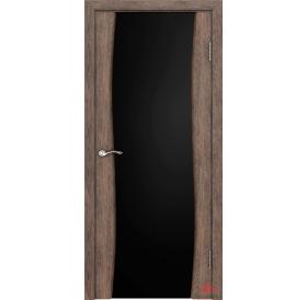 Дверь межкомнатная Волна Нанофлекс каштан ПО (стекло: черный триплекс)