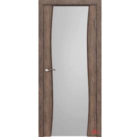 Дверь межкомнатная Волна Нанофлекс каштан ПО (стекло: белый триплекс)