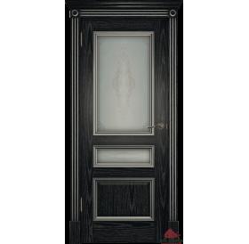 Дверь межкомнатная Вена черная патина серебро ПО