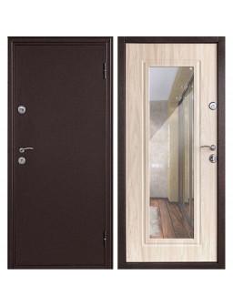 Входная металлическая дверь Дверной Континент Элегия с зеркалом (Дуб белёный)