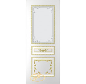 ДП Блюз, тон Белый, патина золото (акрил), стекло матовое с рис. 1 2-е матирование
