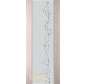 ДП Палермо, шпон БЕЛЁНЫЙ ДУБ бесцветный лак, стекло триплекс белое рис. 22, стразы