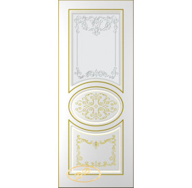 ДП Вальс, тон Белый, патина золото (акрил), стекло матовое с рис. 1 2-е матирование